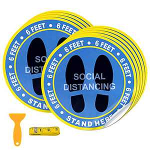 "30 Pack 10"" Social Distancing Floor Decal Stickers - Blue Stand Decal - Wait Here Sign Safety Distance of 6 Feet Specialized Sticker Markers, for Crowd Control Guidance, Grocery, Pharmacy, Bank, Lab"