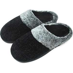 jiajiale House-Slippers-for-Women-Chenille-Women's-Scuff-Slippers Memory Foam Fuzzy Furry Womens Slip-on Mule House Shoes Faux Fur Fluffy Clog Slipper for Women Black