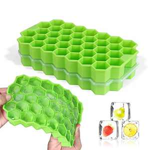 MUGOOLER Ice Cube Trays, 2 Pack Silicone Ice Cube Molds with Lid BPA Free, for Whiskey, Cocktail, Chilled Drinks,Stackable Flexible Safe Ice Cube Molds(Green)