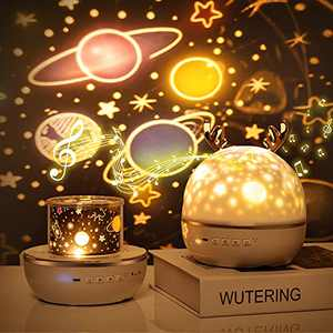 Night Light Projector for Kids,Star Projector Bluetooth Music for Baby Bedroom Kids Room Projector Lamp 6 Sets of Film Nightlight Projector Lamp USB Rechargeable Remote 360°Rotating Timer Girls Gifts