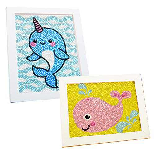 ForFine Diamond Painting kit Handwork DIY Cartoon Decorative 5D Diamond Art Drawing Canvas 2 Pack for Kids, Beginners, Adults, Wooden Frame Included (Whale)