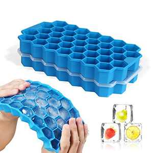 MUGOOLER Ice Cube Trays, 2 Pack Silicone Ice Cube Molds with Lid BPA Free, for Whiskey, Cocktail, Chilled Drinks,Stackable Flexible Safe Ice Cube Molds(Blue)