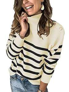 ANRABESS Women Casual Turtleneck Loose Fit Knit Striped Chunky Sweater Pullover with Matel Button A267mibai-M