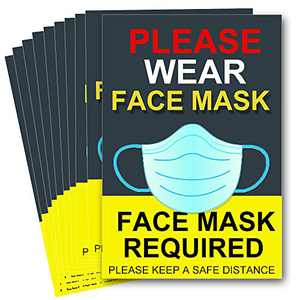 "10 Packs Face mask Required Sign Sticker, Please wear face mask Window/Wall Floor 7""x10"" ignage Public Safety Decal Stickers Adhesive Vinyl"
