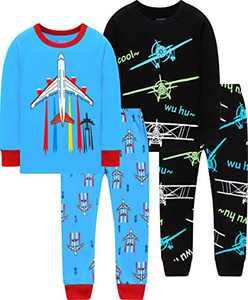 Boys Airplane Pajamas Christmas Baby Grow in The Dark Rocket Clothes Children Cotton Sleepwear 5t