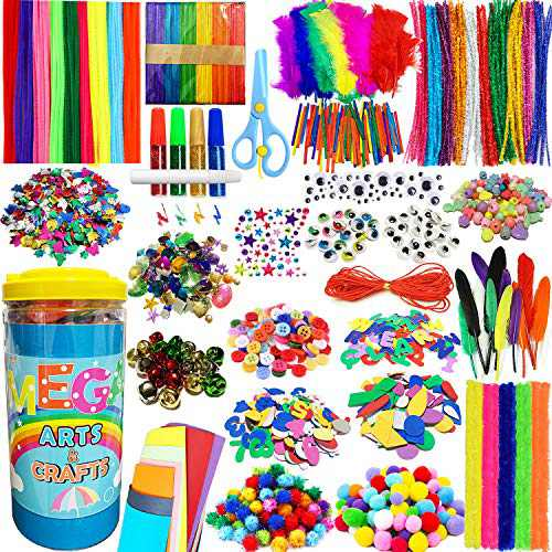 PANSHAN Mega Kids Crafts Kit and Art Supplies Jar Kit-1320+ Piece Set Make Bracelets and Necklaces - Plus Glitter Glue, Construction Paper, Colored Popsicle Sticks, Google Eyes, Pipe Cleaners