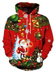 Linnhoy Unisex Cute 3D Santa Print Ugly Christmas Sweatshirt Hoodies Pullover with Big Pocket , Small