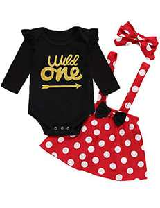 Shalofer Baby Girl Wild One Outfit Set Infant One Year Old Birthday Long Sleeve Suspender Skirt with Headband (Red02,6-12 Months)
