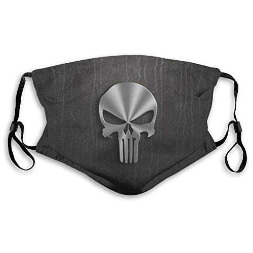 Men's Women's Face Protective Balaclava Mouth Cover with 2 Filter Windproof Dustproof Adjustable Mask Elastic Strap Metal Skull Punisher Logo
