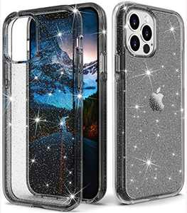 "ONOLA Compatible with iPhone 12 Pro Max Case Clear Glitter for Women Girls [Only Fit iPhone 12 Pro Max 6.7""] iPhone 12 Pro Max 5G Case Cute Clear Cover for iPhone 12 Pro Max Phone(Glitter/Black)"