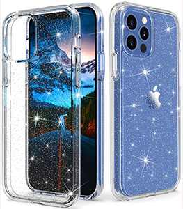 "ONOLA Compatible with iPhone 12 Pro Max Case Clear Glitter for Women Girls [Only Fit iPhone 12 Pro Max 6.7""] iPhone 12 Pro Max 5G Case Cute Clear Cover for iPhone 12 Pro Max Phone(Glitter/Silver)"