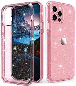 """ONOLA Compatible with iPhone 12 Pro Max Case Clear Glitter for Women Girls [Only Fit iPhone 12 Pro Max 6.7""""] iPhone 12 Pro Max 5G Case Cute Clear Cover for iPhone 12 Pro Max Phone(Glitter/Pink)"""