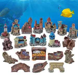 AQQA Aquarium DIY Fish Tank Decoration,20 PCS Mini Artificial Resin Coral/Castle Ornament Set,Eco-Friendly Safe and Harmless for Freshwater Saltwater (Castle)