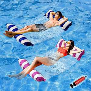 Pool Floats Adult Size - 2 Pack 4-in-1 Inflatable Pool Float Pool Floaties with Air Pump,Fun Water Toys as Pool Lounger,Pool Hammock,Chair,Pool Raft,Lake Floats for Swimming Pool