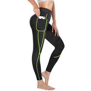 Irisnaya Compression Slim Leggings for Women Sauna Sweat Pants High Waist Training Butt Lifter Tights Workout Body Shaper (Green, X-Large)