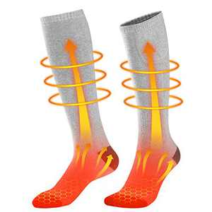 Enjoyee Heated Socks Rechargeable, Battery Heated Socks for Men Women with 3 Heating Levels, Electric Heated Ski Socks for Hunting Hiking Camping
