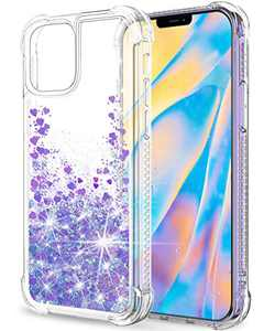 "SunStory Compatible with iPhone 12 Mini Case Glitter Clear [Only Fit iPhone 12 Mini 5.4""], Compatible with iPhone 12 Mini 5G Case for Women Girls with Anti-Fall and Moving Shiny(Light Purple)"