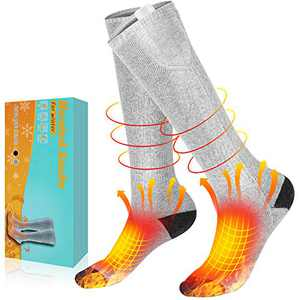 AiBast Electric Heated Socks for Men Women Rechargeable and Washable, 3 Heating Settings Battery Heated Socks for Winter, Thick Thermal Foot Warmer Socks for Hunting, Ski, Camping Gray
