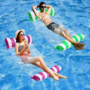 2-Packs Pool Floats Adult Size - 4-in-1 Pool Floaties with Pump,Multi-Purpose Pool Float Pool Toys,Pool Hammock,Saddle,Chair,Pool Lounger Float,Drifter,Pool Raft,Lake Floats for Swimming Pool