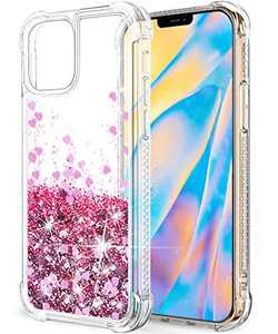 """SunStory Compatible with iPhone 12 Case Glitter Clear, iPhone 12 Pro Case Glitter Clear,[Only Fit 6.1""""] iPhone 12/12 Pro 5G Case for Women Girls Designed for iPhone 12/12 Pro 5G Phone (Rose Gold)"""