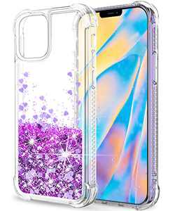 "SunStory Compatible with iPhone 12 Pro Max Case Glitter Clear [Only Fit Pro Max 6.7""], Compatible with iPhone 12 Pro Max 5G Case for Women Girls with Moving Shiny Quicksand (Purple)"