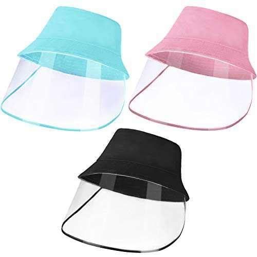3 Pieces Kid Hat with Windproof Cotton Sun Hat Fisherman Cap (Black, Pink, Blue)