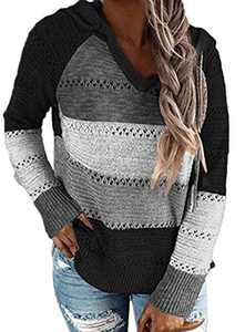 Womens Color Block Hoodies Lightweight Knit Sweaters Long Sleeve Casual Striped V Neck Pullovers Sweatshirts Tops Black L