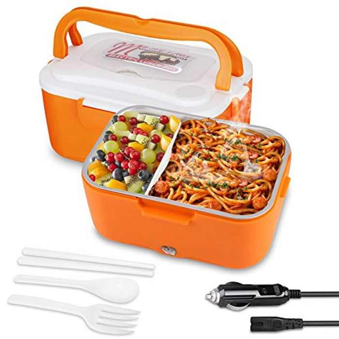 AUTOPkio Truck Electric Lunch Box, Lunchbox Electric 24V Food Warmer for Truck Driver 1.5L Portable Heating Meal Container Bento Heater(Orange)