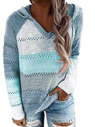 Womens Hoodies Hollow OutSweaterColor BlockKnit Pullover Lightweight Hoody Striped Sweatshirts Tops Blue