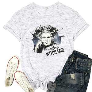 MOUSYA Resting Witch Face Halloween T-Shirt Women Funny Sanderson Sisters Graphic Shirt Casual Tee Shirt Top White