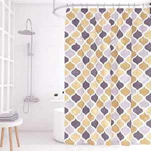 JCHORNOR Geometric Printed Shower Curtain,Waterproof Shower Curtain,Navy/Gray, 72W72L (Yellow/Brown/Gray)