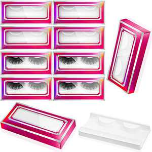 60 Pieces Empty Eyelashes Packaging Box and Tray, 30 Empty Lash Box Case Soft Paper Eyelash Box Eyelash Holder Case Empty Eyelash Case Eyelash Container with 30 Lash Tray Lash Case(Laser)