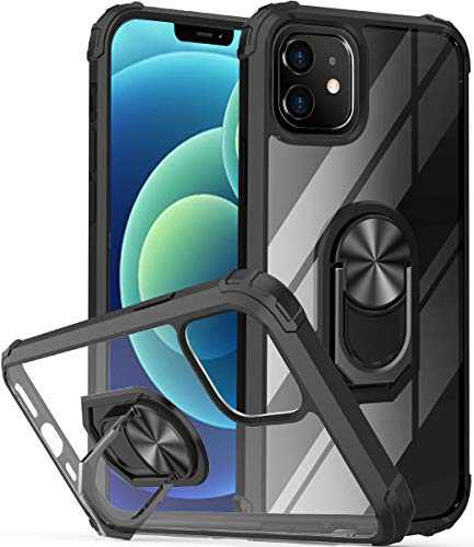 """ONOLA Compatible with iPhone12 Mini Case Clear [Only Fit 5.4""""] iPhone 12 Mini Case with Kickstand Ring and iPhone 12 Mini 5G Case with Car Mount Holder Cover for iPhone 12 Mini 5G Phone(Clear/Black)"""