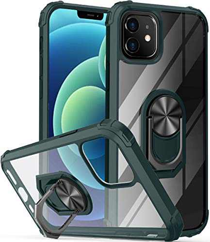 """ONOLA Compatible with iPhone12 Mini Case Clear [Only Fit 5.4""""] iPhone 12 Mini Case with Kickstand Ring and iPhone 12 Mini 5G Case with Car Mount Holder Cover for iPhone 12 Mini 5G Phone(Clear/Green)"""