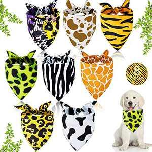 Weewooday 8 Pieces Wild Animal Print Dog Bandana Jungle Animal Print Pet Bandanas Leopard Zebra Stripe Scarf Cheetah Triangle Pet Bibs Reversible Dog Scarf Adjustable Washable Pet Kerchief