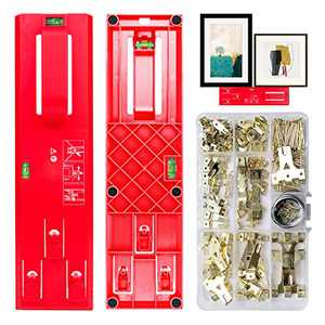 Picture Hanging Kit Picture Frame Hanger Tool 235 Pieces Heavy Duty Photo Hanger Accessories with Picture Hanging Wire, Hooks, Nails and Wall Hanger Level (Red)