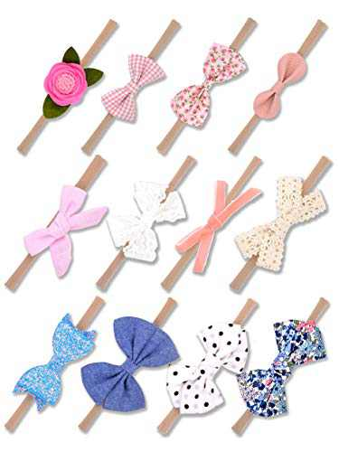 AYCKJ Baby Girl Headbands and Bows, Nylon Hairbands for Newborn Infant Toddler, Elastic Hair Accessories (12 PCS)
