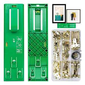 Picture Hanging Kit Picture Frame Hanger Tool 235 Pieces Heavy Duty Photo Hanger Accessories with Picture Hanging Wire, Hooks, Nails and Wall Hanger Level (Green)