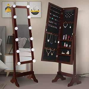 Hollywood Style Jewelry Cabinet w/Full-Length Mirror,Large Storage Standing Armoire Organizer w/Dimmable Light Bulbs(Espresso)
