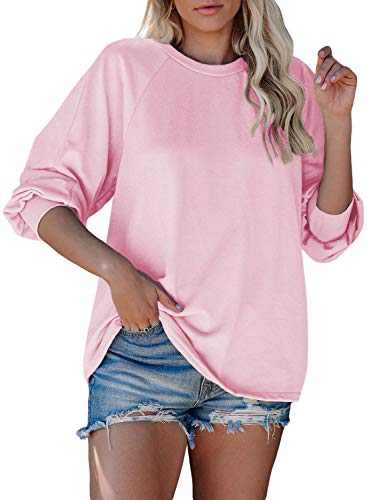 Women's Oversized Sweatshirts Long Sleeve Round Neck Loose Fit Stretchy Pullover Blouses Tops Autumn Pink S