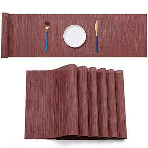 """SD SENDAY Table Runner with Set of 6 Compatible Placemats, 12""""×72"""" PVC Non-Slip Heat Resistant Farmhouse Modern Table Runner for Family Dinner Kitchen Dining Table Thanksgiving Christmas Decoration"""