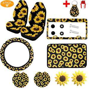 9PCS Sunflower Car Accessories,2PCS Car Front Seat Covers,Car Wheel Cover,Sunflower Pattern Center pad Cover,Sunflower Aluminum Metal License Plate Cover,2PCS Car Cup Holder Coaster and 2PCS Car Vent