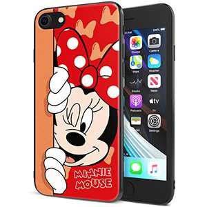 DISNEY COLLECTION iPhone 7/8 Case 4.7 Inch,Minnie Cute Cartoon Soft Flexible TPU Ultra-Thin Shockproof Bumper Protective Cover,Scratch-Resistant and Fade-Resistant Case for iPhone 7/8