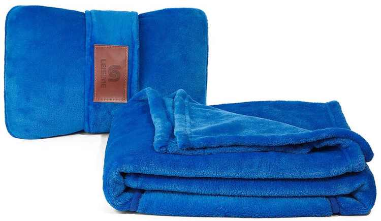 LEISIME Travel Blanket 4 in 1 - Lightweight, Warm and Portable. The Latest Small Compact Airplane Blankets & Pillow Set. Made of Warm Plush,Great for Airplane Car Train Travel (Blue)