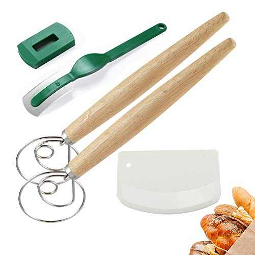 2020 New Bread Lame and Danish Whisk Set, danish dough whisk dough mixer whisk Long Wooden Handle Bread Whisk with Dough Scraper ,Baking Tool for Mixing Dough or Batters for Cake Bread Pastry