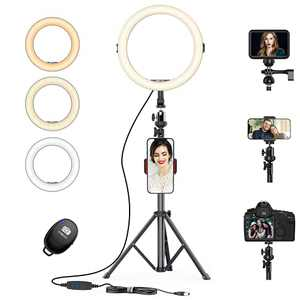 """AFI 12"""" Selfie Ring Light with 3 Color Modes 10 Adjustable Brightness 57.9"""" Extendable Tripod Stand Phone Holder, Wireless Remote Shutter for Photography Makeup Live Stream YouTube Vlogs"""
