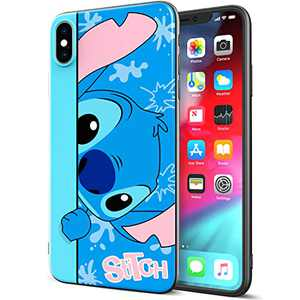 DISNEY COLLECTION iPhone Xs Max Case 6.5 Inch,Stitch Cute Cartoon Soft Flexible TPU Ultra-Thin Shockproof Bumper Protective Cover,Scratch-Resistant and Fade-Resistant Case for iPhone Xs Max