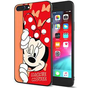 DISNEY COLLECTION iPhone 7/8 Plus Case 5.5 Inch,Minnie Cute Cartoon Soft Flexible TPU Ultra-Thin Shockproof Bumper Protective Cover,Scratch-Resistant and Fade-Resistant Case for iPhone 7/8 Plus
