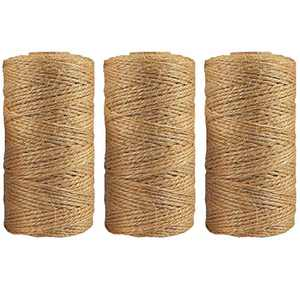 Gohfeoeo Jute Twine 3 Pack, Natural Thick Strong Jute Rope 2MM 984 Feet of 3Ply Burlap Twine Hemp Fabric Cord for Arts Crafts DIY Decoration Gift Wrapping…