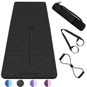 "Yoga Mat Non Slip, Pilates Fitness Mats with Alignment Marks TPE Anti-Tear Yoga Mats for Women, 1/4"" Exercise Mats for Home Workout with Carrying Strap and Sports Pull Rope"